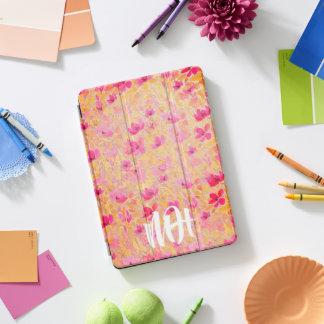 モノグラムの花のガーリーなピンクのiPadの場合 iPad Proカバー