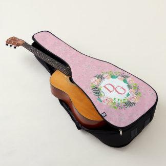 モノグラムの花のピンクのガーリーでかわいいギターのバッグ ギターケース