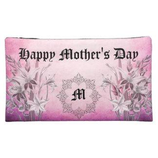 モノグラムの花のピンクの中型の化粧品のバッグ コスメティックバッグ