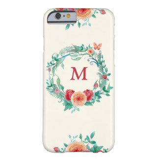 モノグラムの花のリースの電話箱 BARELY THERE iPhone 6 ケース