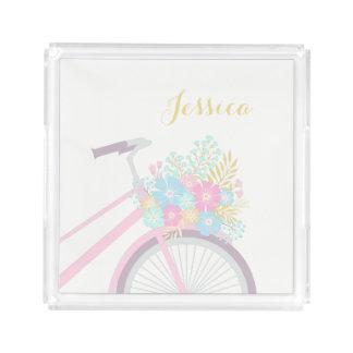 モノグラムの花の自転車のかわいいパステル調のヒップスターの皿 アクリルトレー