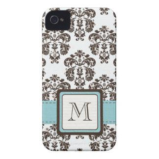モノグラムの茶色がかった鋼色のダマスク織のiPhone 4の4s穹窖C Case-Mate iPhone 4 ケース