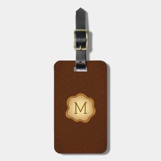 モノグラムの荷物のラベル-青銅色インク、エレガントなブラウン ラゲッジタグ