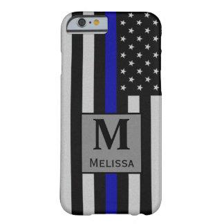 モノグラムの薄いブルーライン旗 BARELY THERE iPhone 6 ケース