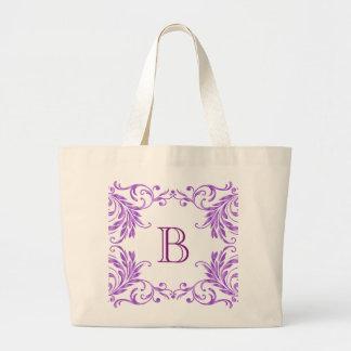 モノグラムの薄紫のダマスク織 ラージトートバッグ