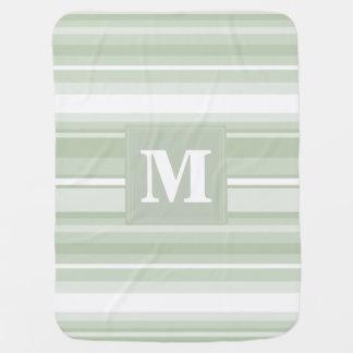 モノグラムの薄緑のストライブ柄 ベビー ブランケット