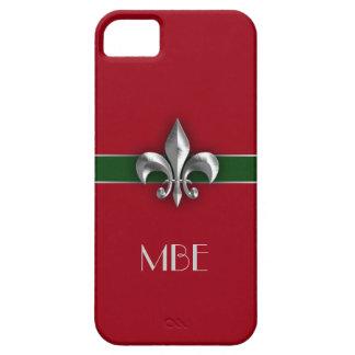 モノグラムの赤い緑の模造のな金属の(紋章の)フラ・ダ・リ iPhone SE/5/5s ケース