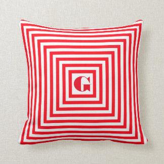 モノグラムの赤と白の正方形 クッション