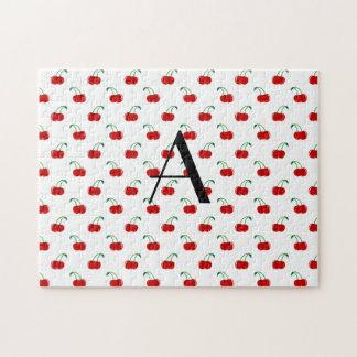 モノグラムの赤のさくらんぼ ジグソーパズル