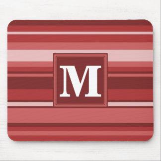 モノグラムの赤のストライブ柄 マウスパッド