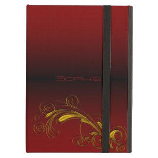モノグラムの赤及び金ゴールドの花のiPadの場合 iPad Airケース