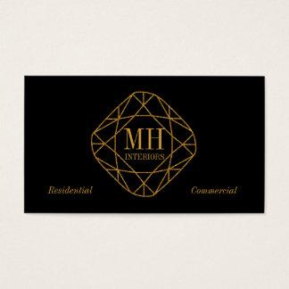 モノグラムの金ゴールドのダイヤモンドの名刺 名刺