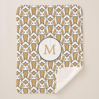 モノグラムの金ゴールド、黒、白いアールデコファンの花 シェルパブランケット