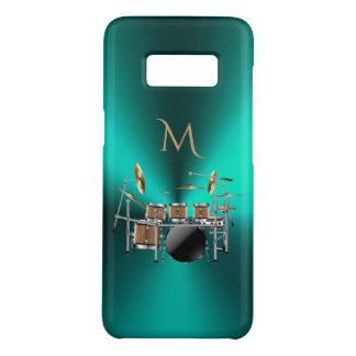 モノグラムの金属ティール(緑がかった色)は音楽をドラムをたたきます Case-Mate SAMSUNG GALAXY S8ケース