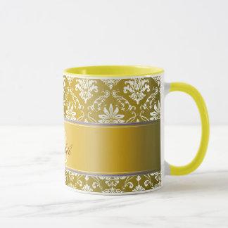 モノグラムの金黄色および白いダマスク織 マグカップ