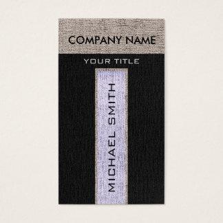 モノグラムの銀及び黒いバーラップのリネン素朴なジュート 名刺