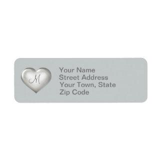 モノグラムの銀製のガラスハート 返信用宛名ラベル