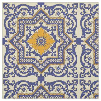 モノグラムの陶磁器のAzulejoのスタイルの青いオレンジ生地 ファブリック