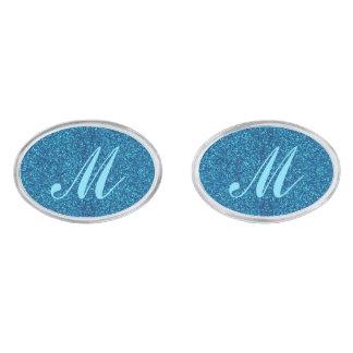 モノグラムの青いグリッターのカフスボタン シルバー カフスボタン