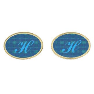モノグラムの青い格子縞のカフスボタン ゴールド カフスボタン