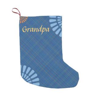 モノグラムの青い格子縞のクリスマスのストッキング スモールクリスマスストッキング