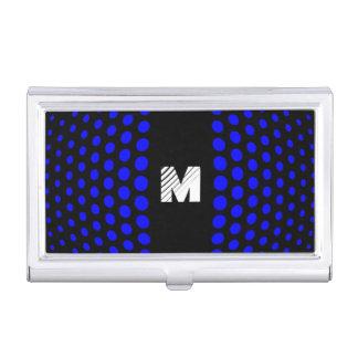 モノグラムの青い水玉模様パターン 名刺入れ