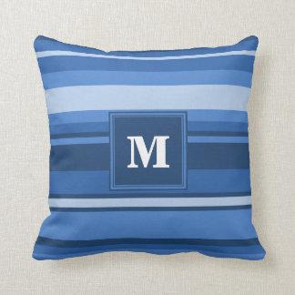 モノグラムの青い縞 クッション