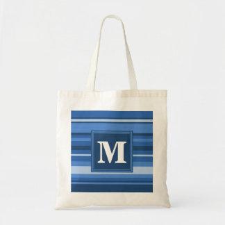 モノグラムの青い縞 トートバッグ