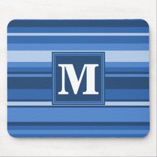 モノグラムの青い縞 マウスパッド