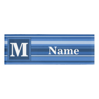 モノグラムの青い縞 名札