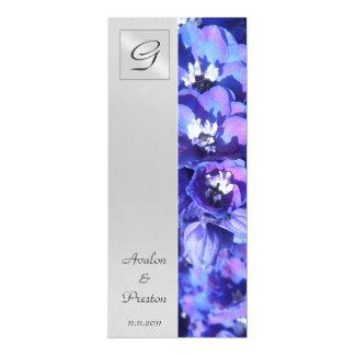 モノグラムの青い花の結婚式プログラムの招待状 10.2 X 23.5 インビテーションカード