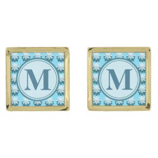 モノグラムの青い雪片パターン ゴールド カフスボタン
