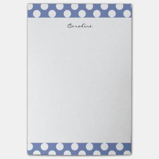 モノグラムの青く白く粋なおもしろいの水玉模様パターン ポストイット