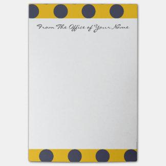 モノグラムの黄色い濃紺のシックな水玉模様パターン ポストイット