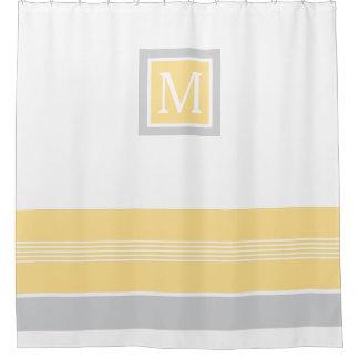 モノグラムの黄色および灰色のストライプのなボーダー シャワーカーテン