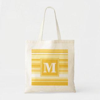 モノグラムの黄色のストライブ柄 トートバッグ