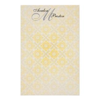 モノグラムの黄色及び黒いレースの結婚式の文房具 便箋