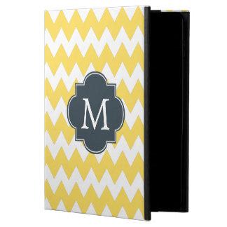 モノグラムの黄色、白および木炭シェブロン POWIS iPad AIR 2 ケース