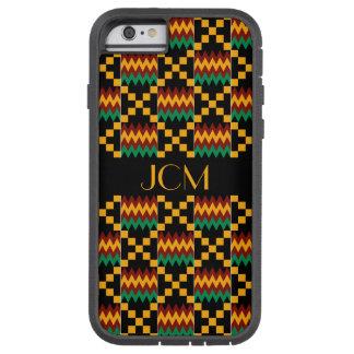 モノグラムの黄色、緑、赤、Kenteの黒い布 Tough Xtreme iPhone 6 ケース