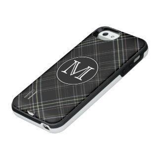 モノグラムの黒いタータンチェック iPhone SE/5/5sバッテリーケース