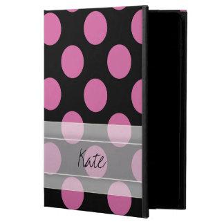 モノグラムの黒いピンクのシックな水玉模様パターン POWIS iPad AIR 2 ケース