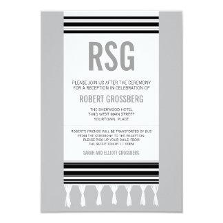 モノグラムの黒い灰色のTallitのバーの(ユダヤ教の)バル・ミツバーの披露宴 カード
