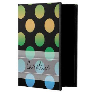 モノグラムの黒い紫色の緑金ゴールドの水玉模様パターン POWIS iPad AIR 2 ケース