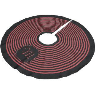 モノグラムの黒およびオーロラの赤いストライプの ブラッシュドポリエステルツリースカート