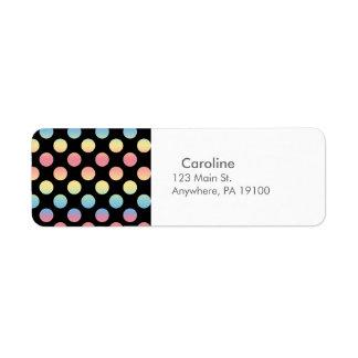 モノグラムの黒く青く黄色いピンクの水玉模様パターン ラベル