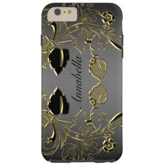 モノグラムの黒及び金ゴールドのiPhone 6の堅い場合 Tough iPhone 6 Plus ケース