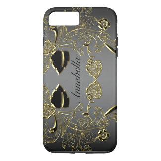モノグラムの黒及び金ゴールドのiPhone 7の堅い場合 iPhone 8 Plus/7 Plusケース