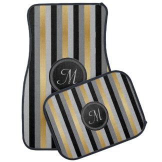 モノグラムの黒、灰色および金ゴールドは縞で飾ります カーマット