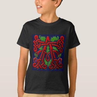 モノグラムのAによって切り分けられる木製の葉の花柄 Tシャツ