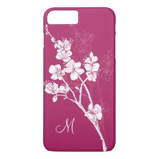モノグラムのAcaiのピンクの白い春の花 iPhone 8 Plus/7 Plusケース